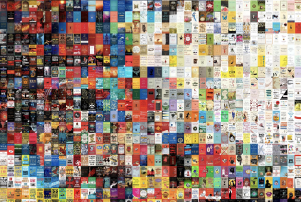 5,000 book covers, arranged by visual similarity using t-distributed stochastic neighbor embedding (t-SNE). (Jess Peter, The Pudding)