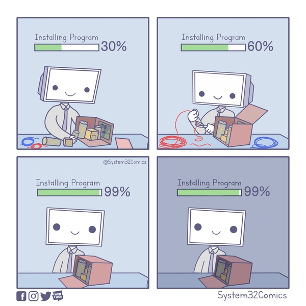 Installation Time Remaining: 46283 Years - Credit: System32Comics