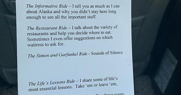Un tassista offre il menu delle conversazioni