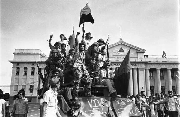 """1979 saw the victory of an authentic revolution in Nicaragua that combined a popular uprising, self-organization of cities and neighborhoods in rebellion, and the action of the Sandinista National Liberation Front (in Spanish – Frente Sandinista de Liberación Nacional – FSLN), a political-military organization inspired by a Marxist-Guevarist/Castrist model."" Link to article in photo."