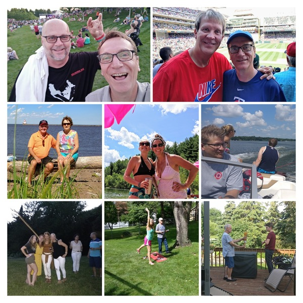 With Terry at Rock the Garden • Wade at Target Field • Bruce and Mom at Wisconsin Point • Tatiana and Erin at Perch Lake • John at Nest Lake • Maria, Margaret, Tatiana, Christy, Jackie, and Cris at Nando Valley • Tatiana and Dad at Barnes home • Dad and Gabriel grilling on deck