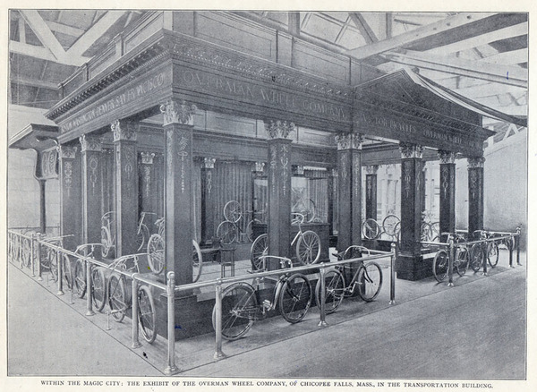 """Devoted to all the devices that save the legs and arms of man from labor and fatigue,"" the Transportation Building made sure to show off corporations like Overman, a Massachusetts-based bicycle manufacturer that The Illustrated American called ""the most attractive and artistic in this department, combining as it does simplicity, taste, and solid worth.""[13]"