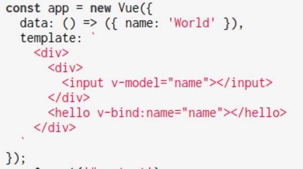 Vue will use Object.defineProperty() to watch for updates on the 'name' property