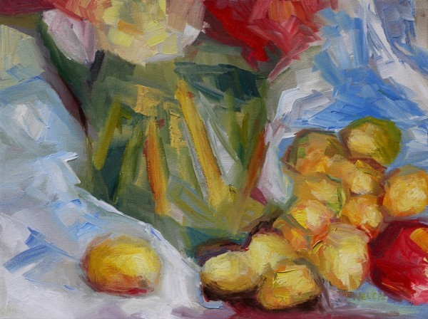 Golden Plums an Apple and a Green Vase by Terrill Welch | Artwork Archive