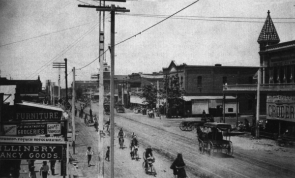 A veritable horde of wheels headed down Phoenix's Washington Street sometime in the 1890s.