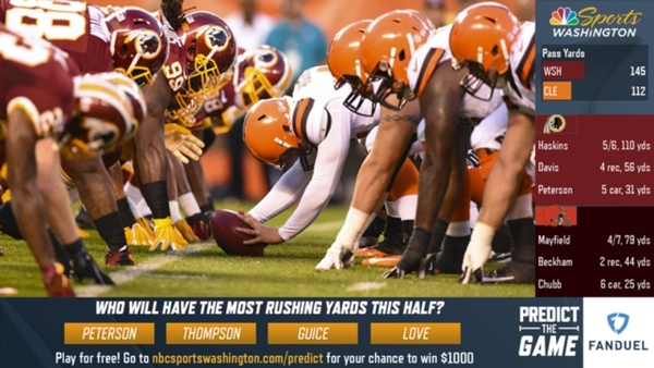 Rovell: Redskins, NBC Sports Get NFL'S Approval for First Predictive-Gaming Live TV Broadcast | The Action Network