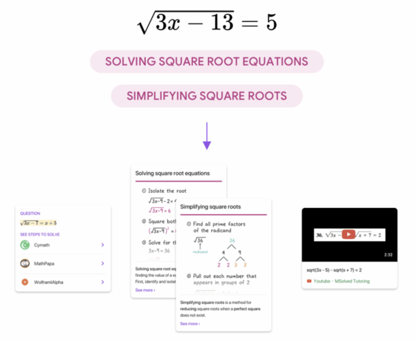 Socratic extracts the underlying concepts of solving and simplifying square root equations from a photo of a math problem. (The Keyword)