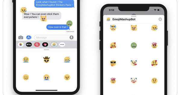 The Twitter Emoji Mashup Bot is now available as free iMessage stickers