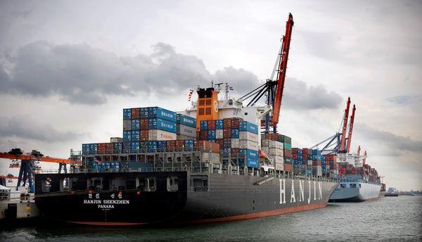 Containerschip in Rotterdam
