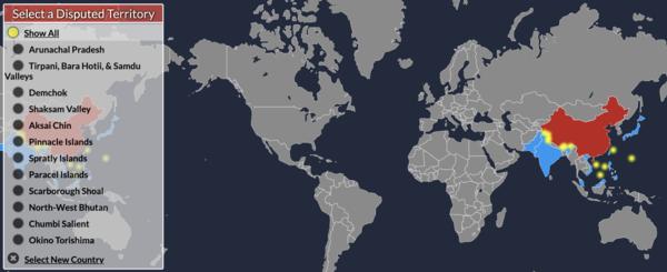 Neste mapa interativo de territórios em disputa, a China lidera, seguida de perto por Rússia e EUA.