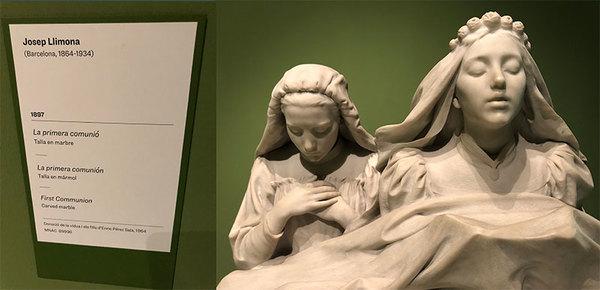 """""""De eerste communie"""" van Josep Llimona in het Museu Nacional d'Art de Catalunya (Barcelona)"""