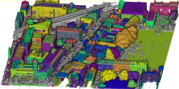 Annotated LIDAR point cloud of Dublin