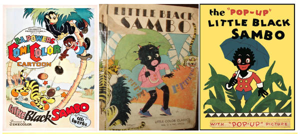 Various versions of the Sambo character in books.
