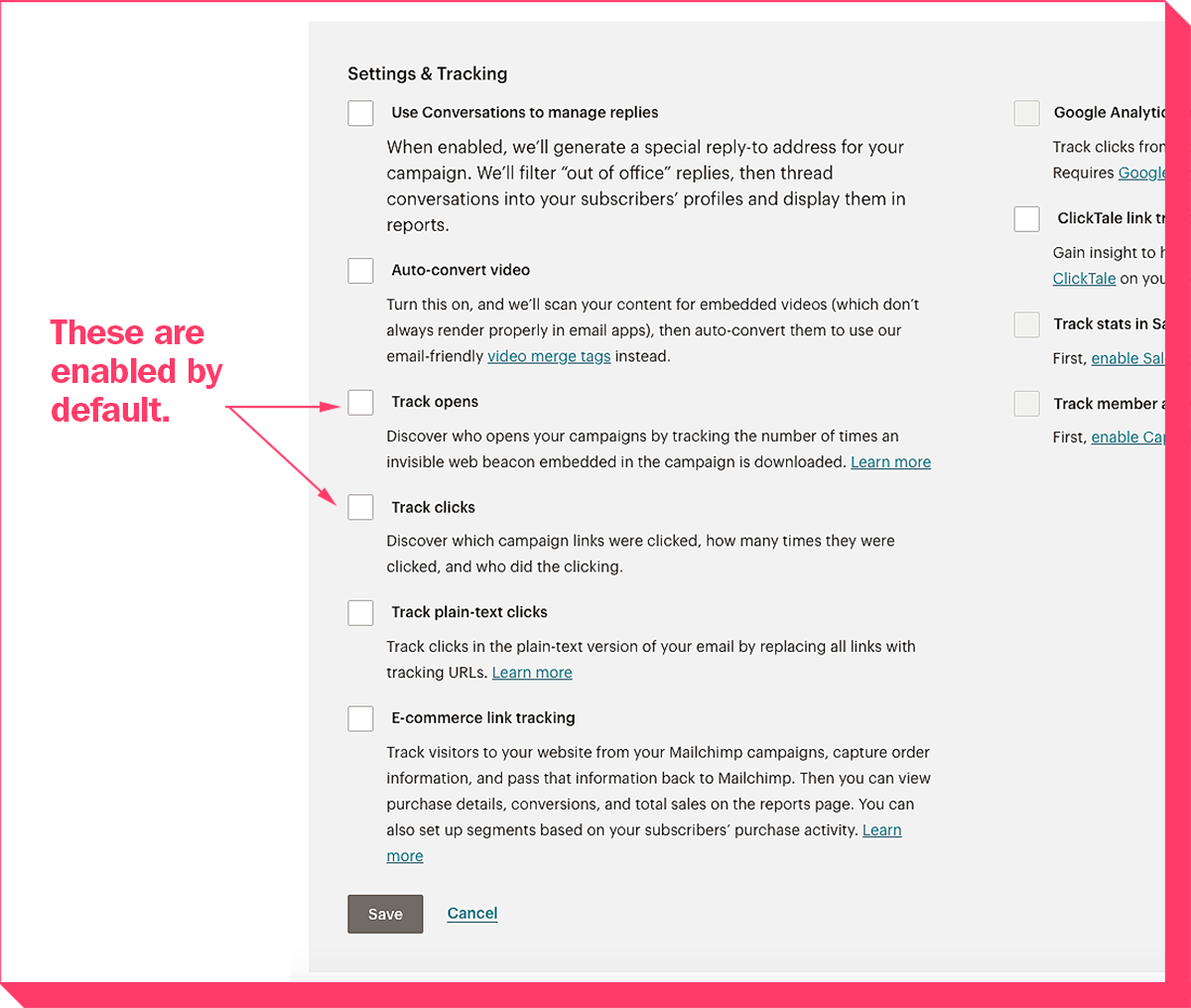 "Mailchimp's ""Settings & Tracking"" controls page."