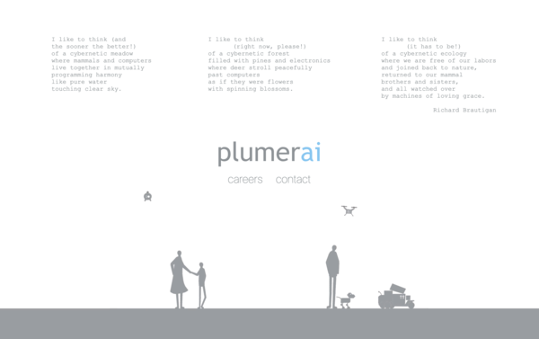 Plumerai's landing page features drones and delivery bots. (Plumerai)