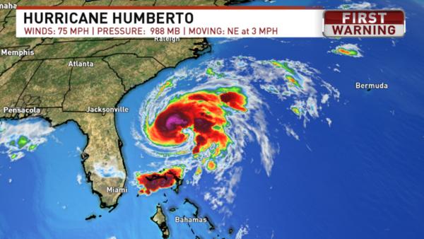 Humberto becomes a hurricane in the Atlantic
