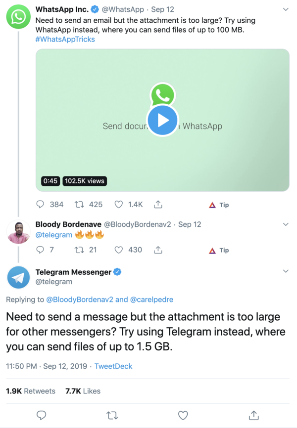 Telegram flexin' on Twitter, ruining WhatsApp