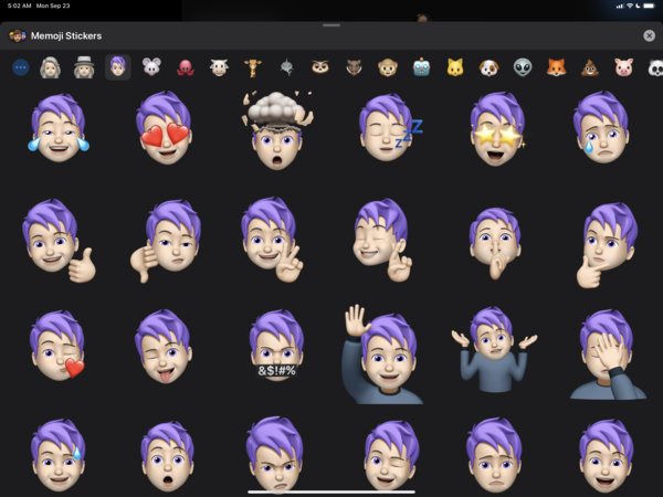 Yes, my Memoji hair is purple