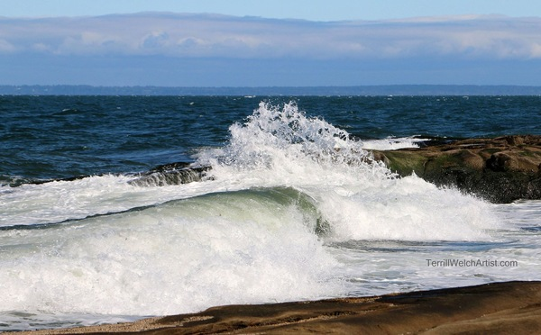 Waves Up at Georgina Point on Mayne Island.