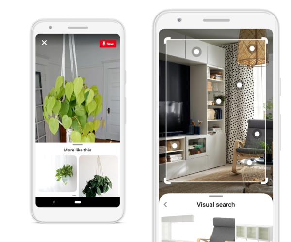 Visual search through the camera or existing Pins in the updated Pinterest Lens. (Pinterest)