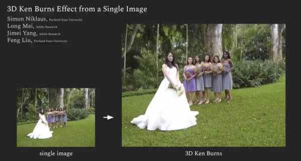 3D Ken Burns effect from a single image. (Niklaus et al.)