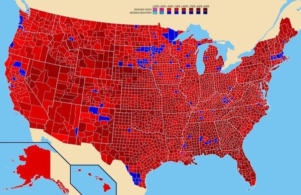De electorale kaart na  de presidentsverkiezingen van 1972