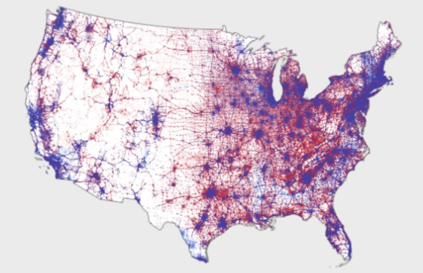 Electorale verhoudingen op basis van kiezersconcentratie in 2016 (bron: Kenneth Field Map)