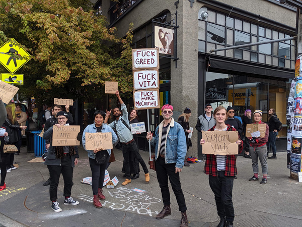 Protests Erupt Outside Seattle's Caffé Vita Over Staff Firings, Unhoused Practices