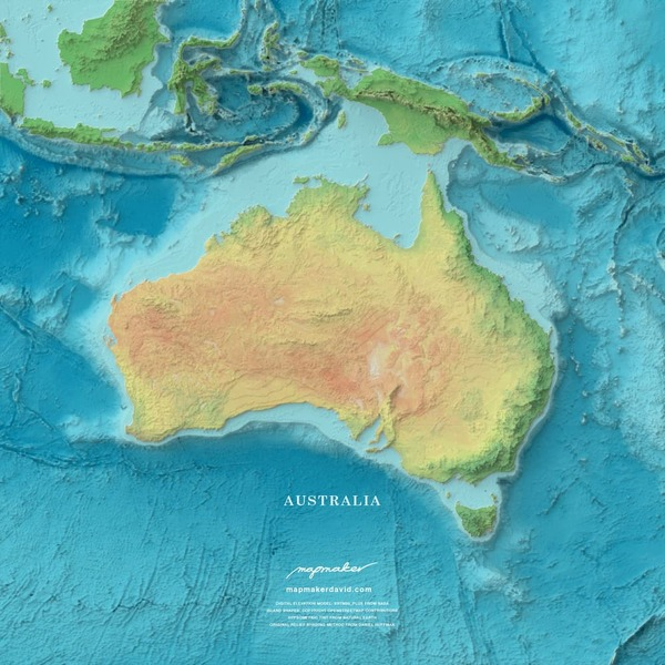 Australia shaded relief
