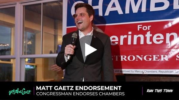 Congressman Matt Gaetz endorses Marcus Chambers for Superintendent