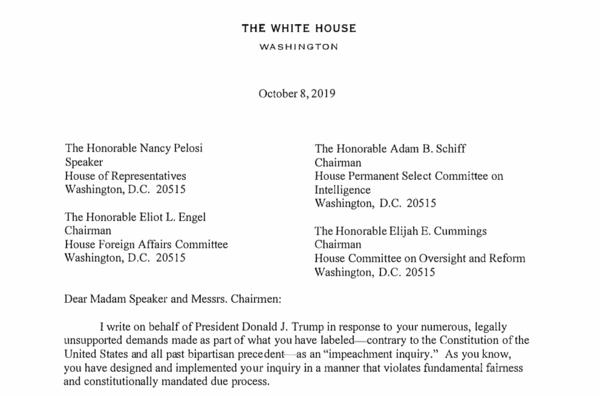 De brief van het Witte Huis aan het Congres