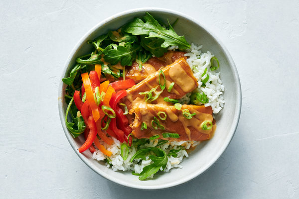 Baked Tofu With Peanut Sauce and Coconut-Lime Rice Recipe - NYT Cooking