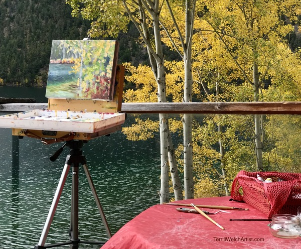 Plein air start on cabin deck at Pavilion Lake