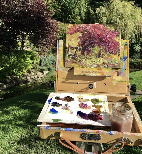 Plein air painting Japanese Garden Mayne Island