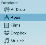 In de navigatiekolom van de Finder is het woord 'Programma's' vervangen door 'Apps'.