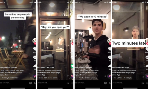 Screencaps of one of Morgan's TikTok's videos. Every barista opener can relate to this.