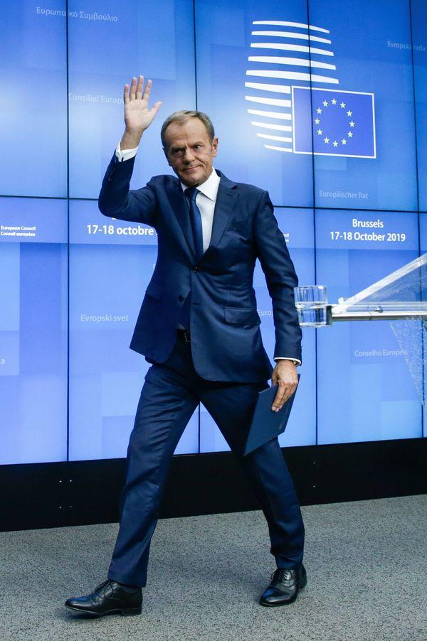 Donald Tusk na afloop van zijn laatste EU-top