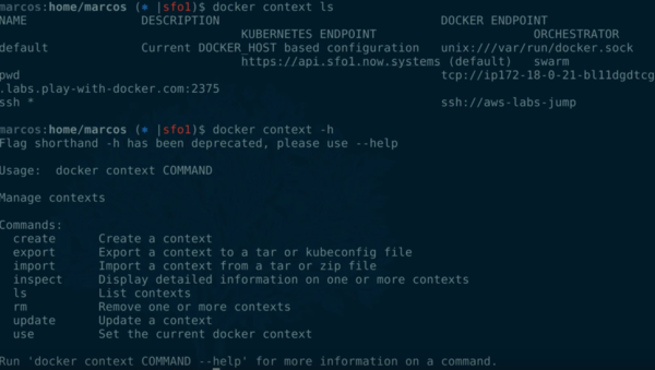 docker context was added in 19.03, let's start using it!