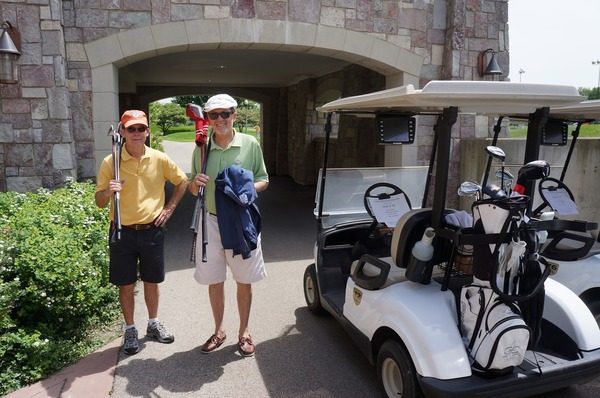 My dad and my uncle, enjoying a beautiful day at a Family Reach golf event.