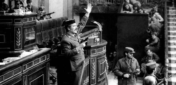 Tejero in het Spaanse parlement 1981
