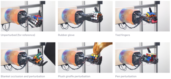 The robot hand is robust to several types of perturbation, including being hit by a plush giraffe. (OpenAI))