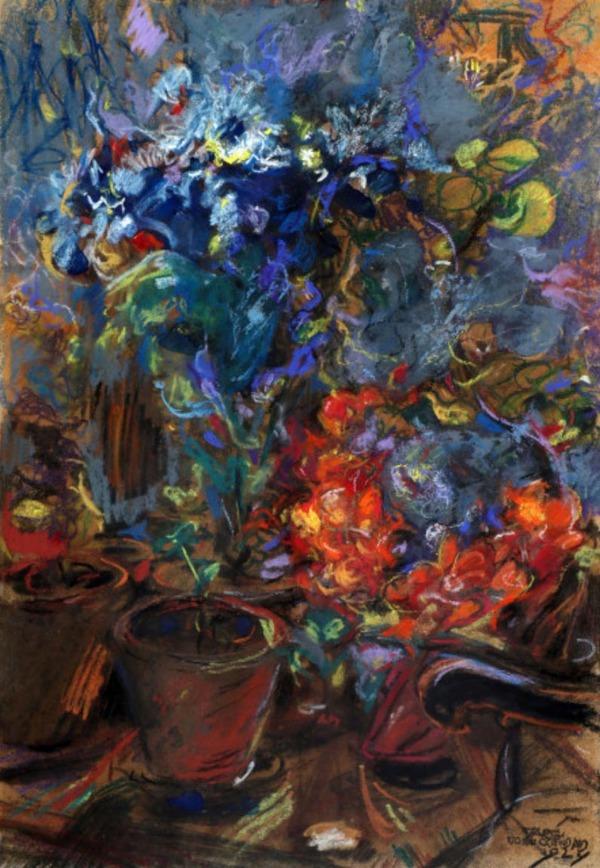 'Bloemstilleven' 1924 - pastel: Martin Monnickendam (kavel 148 Van Zadelhoff Veilingen)