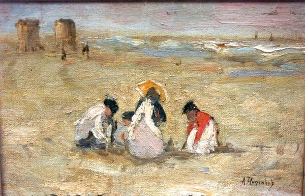 'Spelende kinderen op het strand' - olieverf op doek: Arina Hugenholz (herkomst: coll. Simonis & Buunk, Ede)