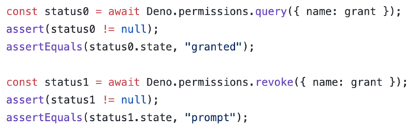 Example of querying and revoking permissions