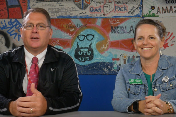 Principals from FWBHS and Choctaw come together for a PSA during Rivalry Week