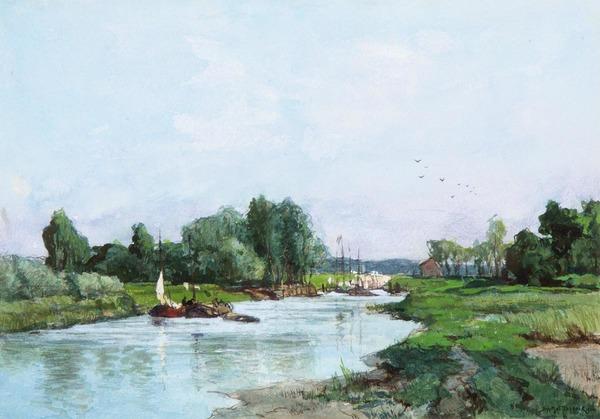 'A summer landscape with boats on a river' - aquarel: J.H. van Mastenbroek (kavel 584 Venduehuis Den Haag)
