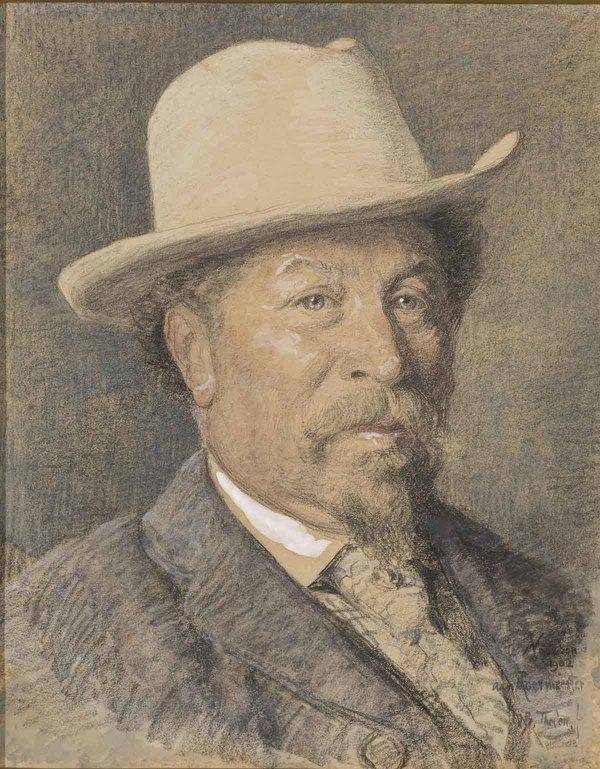 'Portret van de kunstschilder Gerardus Johannes Roermeester' 1902 - waterverf en zwart krijt: Willem Bastiaan Tholen (herkomst: coll. Rijksmuseum Amsterdam)