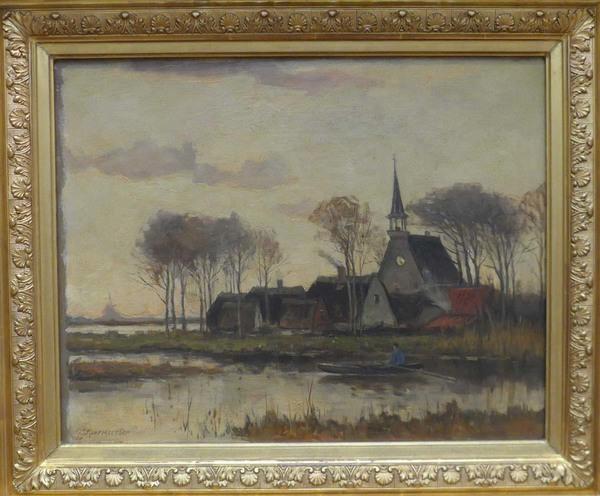 'Roeiboot met een dorpje op de achtergrond' - olieverf op doek: Gerard Roermeester