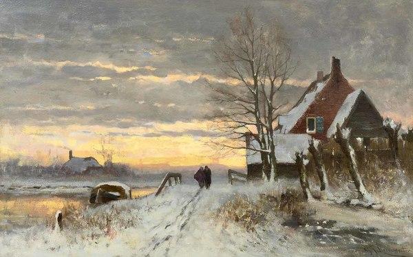 'Zonsondergang in een winterlandschap' - olieverf op doek: Gerard Roermeester