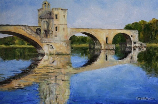 Morning by Pont d'Avignon By Terrill Welch